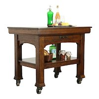 Oak Antique Industrial Rolling Kitchen Island, Wine & Cheese, Plant Table #34110