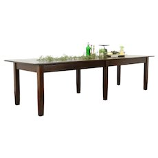 Oak Antique Craftsman 10' Conference, Library or Farmhouse Dining Table #34113