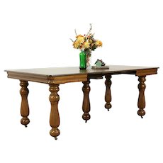 Victorian Antique Square Oak Farmhouse Dining Table, 4 Leaves, 5 Legs #34132