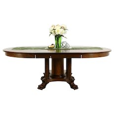 """Quarter Sawn Oak Antique 54"""" Round Dining Table 3 Leaves Lion Paw Feet #34145"""