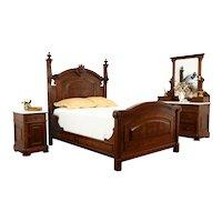 Victorian Antique Walnut 3 Pc Bedroom Set, Queen Size Bed, Marble Tops #34152