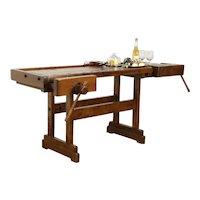 Carpenter Salvage Antique Workbench, Kitchen Island, Wine & Cheese Table #34165