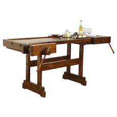 Carpenter Salvage Antique Workbench, Kitchen Island, Wine & Cheese Table #34165