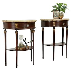 Pair Marble Top Antique French Demilune Nightstands or End Tables  #34190
