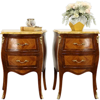 Pair of Antique Bombe Marquetry Chests, Nightstands, Marble Tops #34198