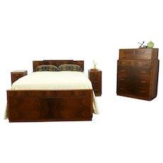 Art Deco Vintage 4 Pc Bedroom Set, Full Size Bed, Highboy, 2 Nightstands #34220
