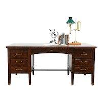 Craftsman Antique Quarter Sawn Oak Office or Library Desk, Commercial #34222