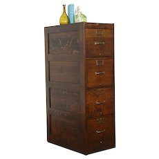 Oak Antique 4 Drawer Office or Library File Cabinet, Globe Wernicke 1917 #34226