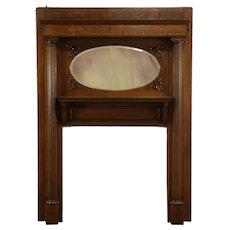 Victorian Antique Oak Architectural Salvage Fireplace Mantle & Mirror #34231