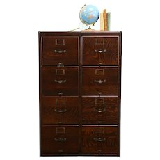 Oak Quarter Sawn Antique 8 Drawer Double Office File Cabinet  #34274
