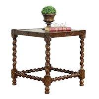 English Tudor Antique Oak Lamp, End or Chairside Table, John Miller NY #34340