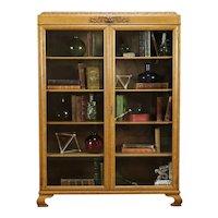 Oak Antique Office Bookcase, Carved Lion Head, Wavy Glass Doors #34358