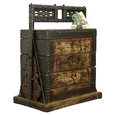 Korean Antique Asian Stacking Marriage Dowry Chest Iron Mounts #34365