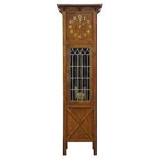 Craftsman Antique Mission Oak Arts & Crafts Tall Case Grandfather Clock  #34379