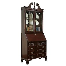 Traditional Vintage Cherry Secretary Desk & Lighted Bookcase, Jasper  #34437