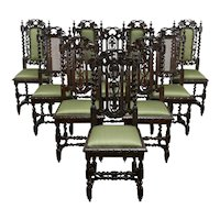 Set of 10 Antique Black Forest Farmhouse Oak Dining Chairs, Grapevines #34451