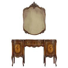 French Style Vintage Carved & Marquetry Vanity or Desk with Mirror #34478