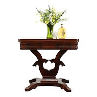 Empire Antique Flame Mahogany Hall Console, Flip Top Game Table #34529