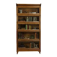 Oak Antique 5 Stack Lawyer Office or Library Bookcase, Humphrey #34532