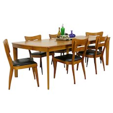 Midcentury Modern Vintage Dining Set 6 Chairs, Table Heywood Wakefield #34544