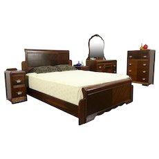 Art Deco Vintage 5 Pc Bedroom Set, Queen Size Bed #34546