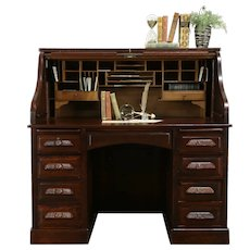 Oak Quarter Sawn Antique Roll Top Desk, Raised Panels, Secret Drawers #34575