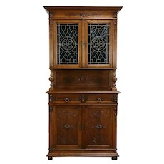 French Antique Carved Oak Sideboard, Bar or Server Cabinet, Stained Glass #34583