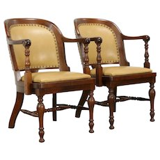 Pair of Antique Walnut Banker Chairs, New Leather, Becker #34585