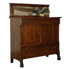 Oak Quarter Sawn Antique Sideboard, Server or Buffet, Beveled Miirror #34594