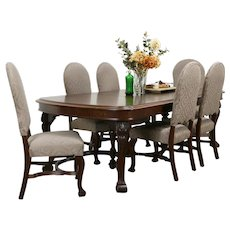Antique Dining Set, Table & 6 Leaves, 6 Chairs New Upholstery, Rockford #34648