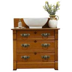 Victorian Eastlake Antique Maple Chest, Dresser or Nightstand, Widdicomb #34683