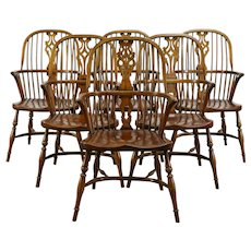 Set of 6 Vintage Windsor Elm & Oak Dining Chairs with Arms, England #34688