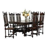 English Tudor Antique Barley Twist Dining Room Set, 6 Chairs, Table  #34723