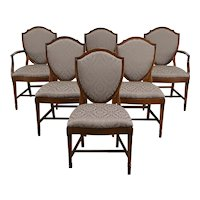 Set of 6 Vintage Traditional Shield Back Dining Chairs New Upholstery #34724
