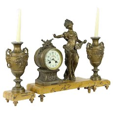 French 3 Pc Antique Marble Mantel Clock Set, Musique by Moreau Sculpture #34729