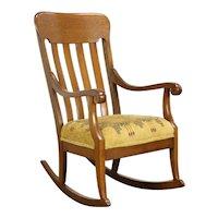 Rocking Chair Oak Quarter Sawn Antique Rocker, New Upholstery #34743