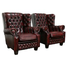 Pair of English Vintage Chesterfield Tufted Leather Wing Chairs #34761