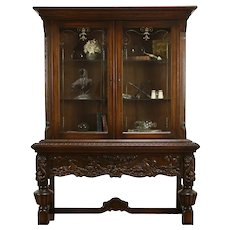 Oak Antique Scandinavian Display Cabinet Carved Chariot & Horses  #34773