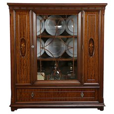 Mahogany & Marquetry Antique Book Case or China Display Cabinet #34775