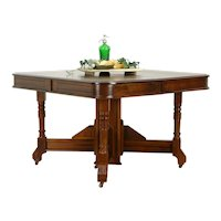"""Victorian Eastlake Antique Walnut 46"""" Dining Table, 11 Leaves Extends 15' #34821"""