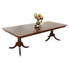 """Mahogany Banded Grained Vintage Dining Table, 2 Leaves Extends 8' 4"""" #34861"""