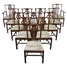 Set of 12 Gerogian Chippendale Vintage Mahogany Dining Chairs Ethan Allen #34873