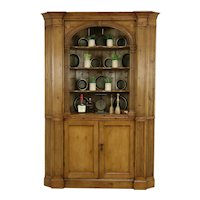 Georgian English Antique 1800 Classical Pine Corner Cupboard or Cabinet #34940