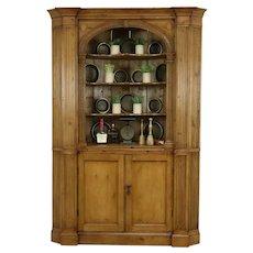 Georgian English Antique 1800 Classical Pine Corner Cupboard or Cabinet #34940