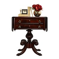 Empire Antique Mahogany Acanthus Lamp or End Table or Nightstand #35016
