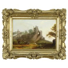 """Shepherds with Castle Ruins Antique English Original Oil Painting 24"""".#35041"""
