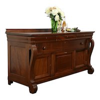 Empire Antique Mahogany Sideboard, Server or Buffet with Silver Chest #35157