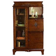 Victorian Antique Farmhouse Oak Side by Side Secretary Desk & Bookcase #35169