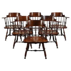Set of 6 Traditional Vintage Birch Dining Chairs w/ Arms, Nichols & Stone #35197
