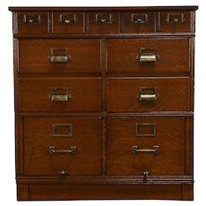 Oak Quarter Sawn Antique 11 Drawer Stacking File Cabinet Yawman & Erbe NY #35251